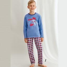 Chłopięca piżama z nadrukiem niebiesko-czerwona w kratę 92 140