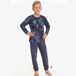 Wygodna bawełniana piżama chłopięca z niebieskim nadrukiem 92 98 104 128 134 140 146 152 158