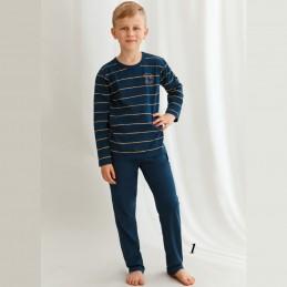 Chłopięca piżama granatowa bawełna w paski 92 do 158
