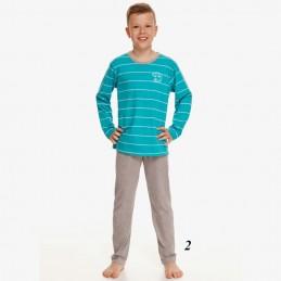 Szaro-niebieska piżama dla chłopca bawełna w paski 92 do 158
