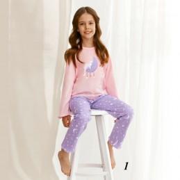 Różowa piżama dziewczęca wzór w jasne gwiazdki 86 do 140