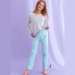 Niebiesko-szara piżama dziewczęca wzór w gwiazdki 146 152 158