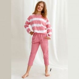 Piżama dziecięca dla dziewczynki długa różowa 152 158