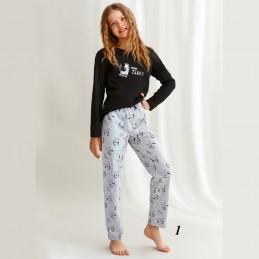 Długa piżama dziewczęca ciemny kolor 152 158