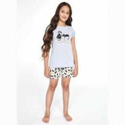 Piżama dziewczęca letni wzór w kotki 134/140