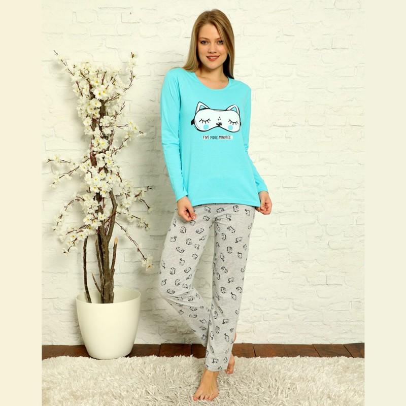 Bawełniana piżama damska niebiesko-szara S M L XL 2XL