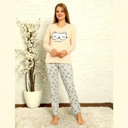 Piżama damska kolor łososiowy bawełniana nadruk S M L XL 2XL
