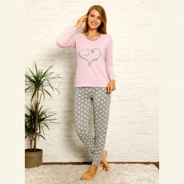 Śliczna damska piżama bawełniana kolor jasnofioletowy S M L XL 2XL