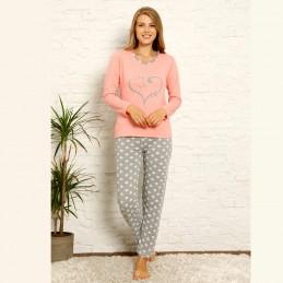 Damska różowa piżama bawełniana z szarym nadrukiem S M L XL 2XL