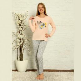 Piżama bawełniana kolor morelowy damska ciepła S M L XL 2XL