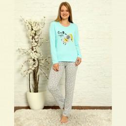Świetna piżama damska bawełniana niebieska z nadrukiem S M L XL 2XL