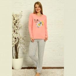 Urocza różowa piżama damska bawełniana nadruk S M L XL 2XL