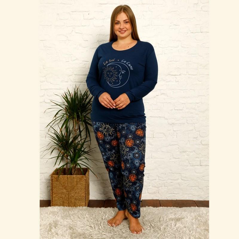 Ciemna piżama plus size damska długi rękaw XL 2XL 3XL 4XL