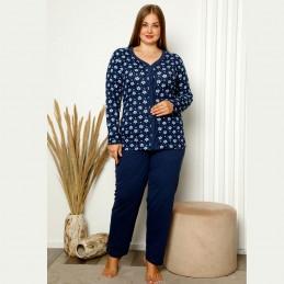 Rozpinana piżama damska plus size w kwiaty XL 2XL 3XL 4XL