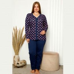 Piżama damska plus size w różowe kwiaty XL 2XL 3XL 4XL