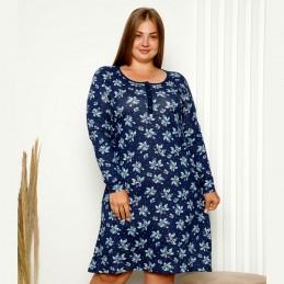 Damska granatowo-niebieska koszula nocna w kwiaty XL 2XL 3XL 4XL