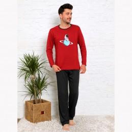 Bawełniana piżama męska kolor czerwony z nadrukiem M L XL 2XL