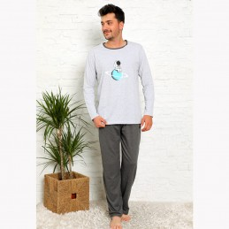 Piżama męska bawełniana szaro-grafitowa z nadrukiem M L XL 2XL