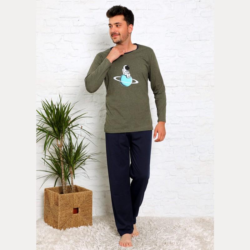Ciemna piżama bawełniana męska kolor khaki M L XL 2XL