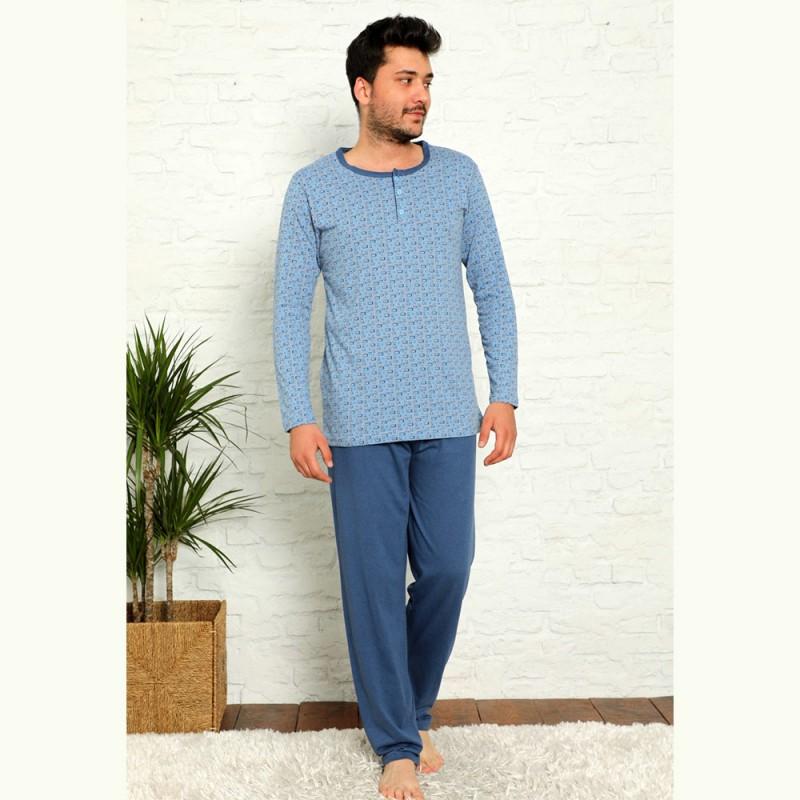 Bawełniana piżama męska z wzorem jasnoniebieska M L XL 2XL