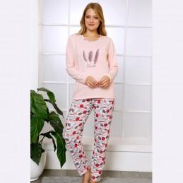 Bawełniana piżama damska w pióra kolor jasny róż S M L XL