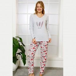 Bawełniana damska piżama wzór w pióra jasne kolory S M L XL