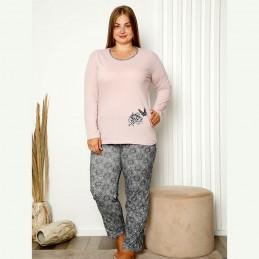 Piżama damska plus size pudrowo-różowa XL 2XL 3XL 4XL