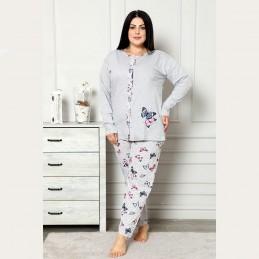 Rozpinana piżama damska szara z wyrazistym wzorem XL 2XL 3XL 4XL
