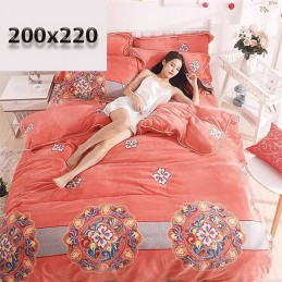 Duży różowy koc 200x220 wzory