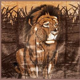 Brązowy koc z lwem 200x240 kod 43