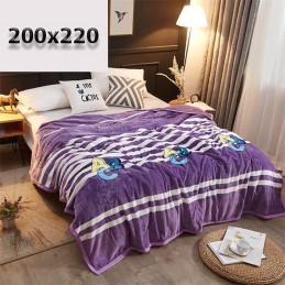 Koc fioletowy 200x220 paski i litery