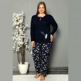 Piękna piżama damska z wzorem w ptaki XL 2XL 3XL 4XL
