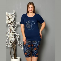 Piżama damska w ciemnym kolorze słońce i księżyc XL 2XL 3XL 4XL
