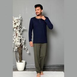 Bawełniana piżama męska granat-khaki M L XL 2XL