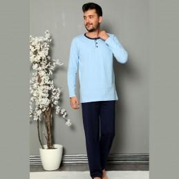 Niebiesko-granatowa bawełniana piżama męska rozpinana M L XL 2XL