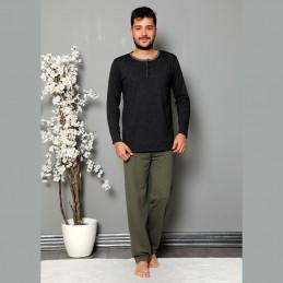 Rozpinana bawełniana piżama męska grafit M L XL 2XL