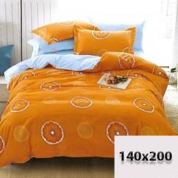 Pościel 140x200 pomarańczowa i błękitna