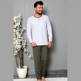 Rozpinana piżama męska bawełna odcień jasnoszary M L XL 2XL