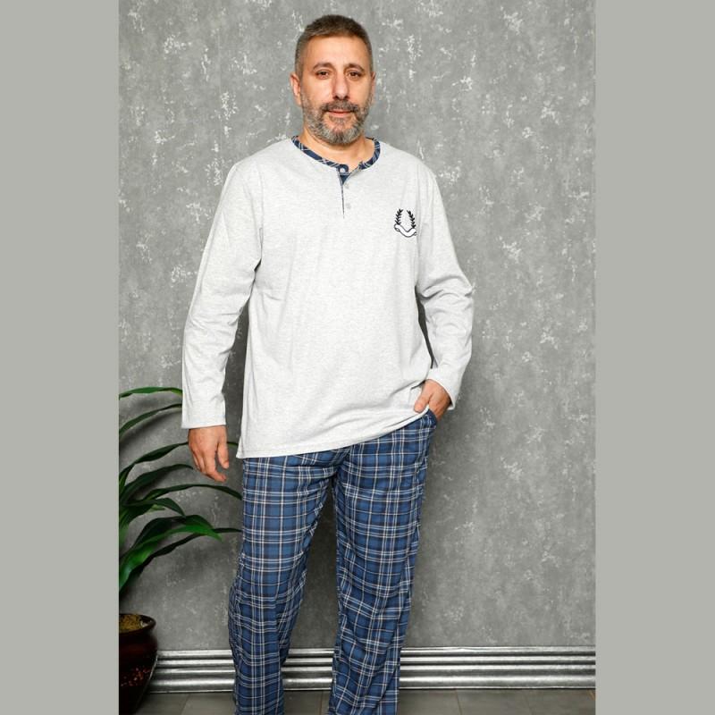 Szaro-niebieska elegancka piżama męska XL 2XL 3XL 4XL