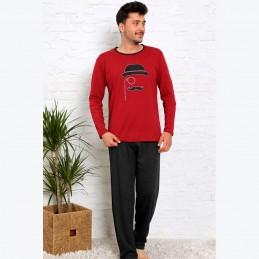 Czerwona piżama męska z zabawnym nadrukiem M L XL 2XL