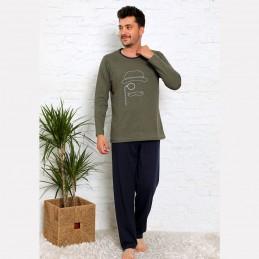 Świetna piżama męska kolor khaki z nadrukiem M L XL 2XL