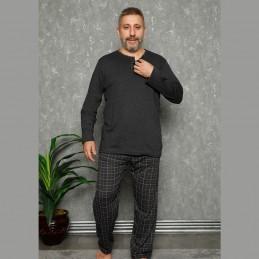 Ciemna grafitowa piżama męska w kratę XL 2XL 3XL 4XL