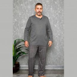 Piżama męska w kolorze ciemnoszarym w jasną kratę XL 2XL 3XL 4XL
