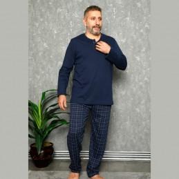 Ciepła piżama męska kolor granatowy wzór w kratę XL 2XL 3XL 4XL