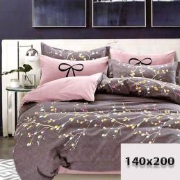 Pościel 140x200 grafitowa i brudny różowy dwustronna kolorowe bazie