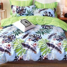 Niebiesko zielona tropikalna pościel bawełniana 160x200