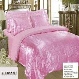 Pościel 200x220 z tłoczonymi haftami i koronkami różowa