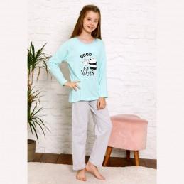 Miętowa dziewczęca piżama dwuczęściowa panda 134 do 164