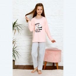 Morelowa dziewczęca piżama uroczy nadruk z pandą 134 do 164