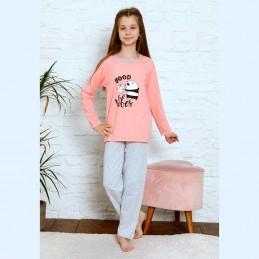 Różowa wygodna dziewczęca piżama z nadrukiem 134 do 164